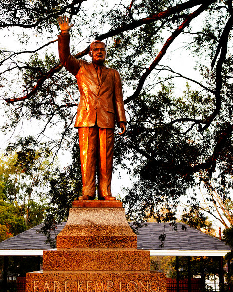 Earl Kemp Long Statue and Park<br /> Bronze statue at sunset (5:35 pm)<br /> Winnfield, Louisiana<br /> November 14, 2006