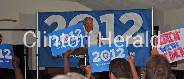 Vice President Joe Biden spoke to a crowd of more than 200 supporters on June 27 during a private grassroots event in Clinton, Iowa. The Clinton Herald was the only media outlet with access to the event, which was open only to select supporters. • Katie Dahlstrom/Clinton Herald