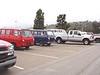 Three 1st Gen Chevy window vans - Red, White and Blue!
