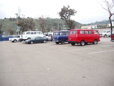Three 1st Gen Chevy window vans - Red, White and Blue!