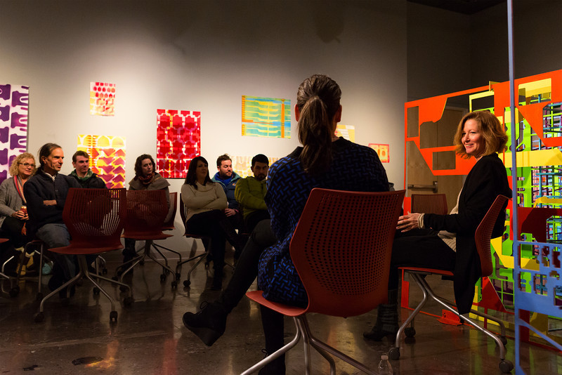 Jennifer Riley and Emily Kennerk present their ideas about the exhibition in their gallery talk.