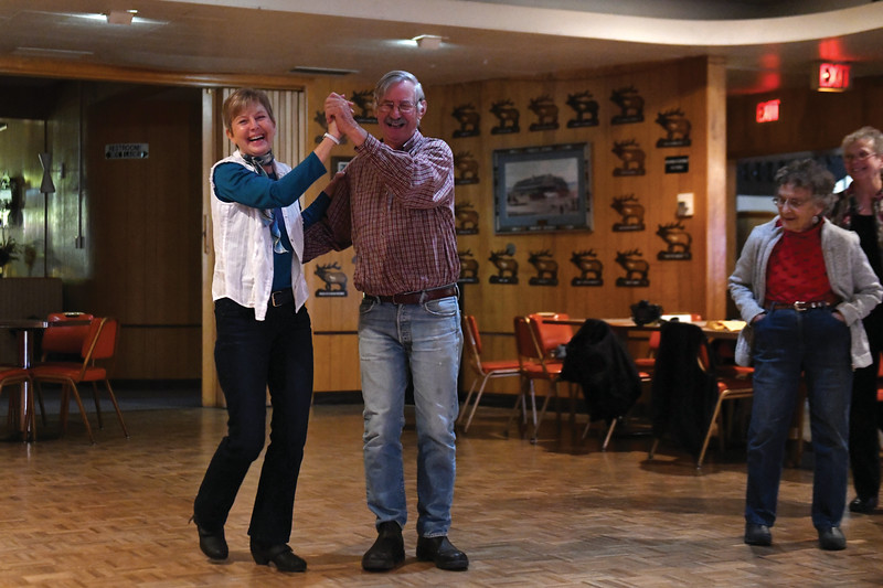 Matthew Gaston | The Sheridan Press<br>The Bighorn Country Dancers vice president Teresa Gustafson left, gives Tom Varcalli a quick lesson in swing dancing Thursday, Nov. 29, 2018.