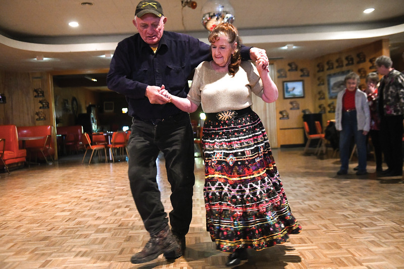 Matthew Gaston | The Sheridan Press<br>George Arzy and Goldie Steiglman cut-a-rug with the Bighorn Country Dancers at the Elks Lodge Thursday, Nov. 29, 2018.