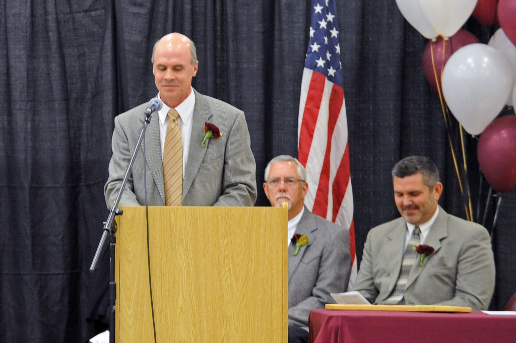 Big Horn Middle School principal Richard Welch greets attendees at the graduation ceremony on Sunday, May 28 at Big Horn High School. Mike Pruden | The Sheridan Press