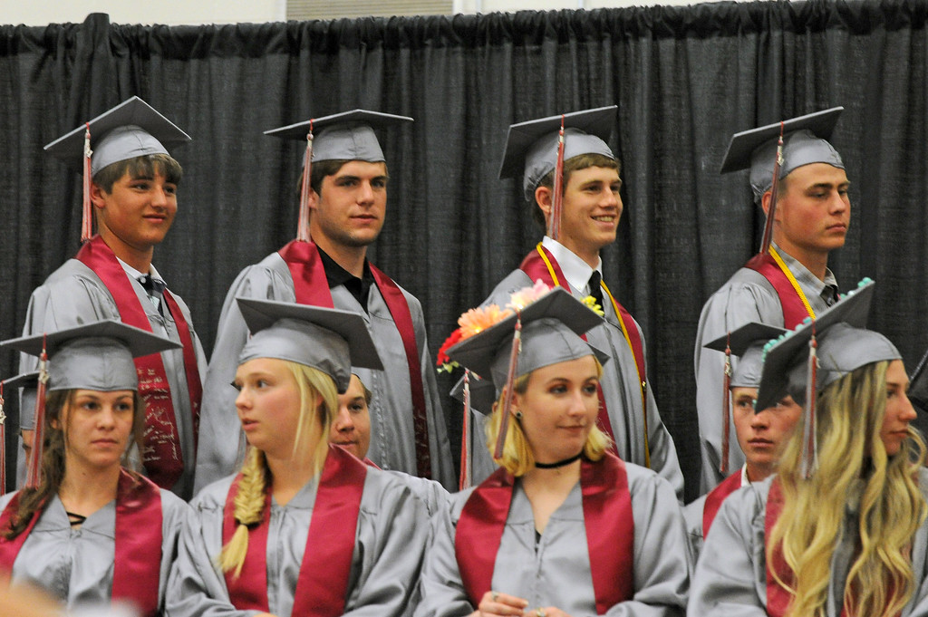 Big Horn students, from left, Wheaton Williams, Andy Quinn, Tanner Warder and Nolan McCafferty wait to walk for their diplomas during the graduation ceremony on Sunday, May 28 at Big Horn High School. Mike Pruden | The Sheridan Press