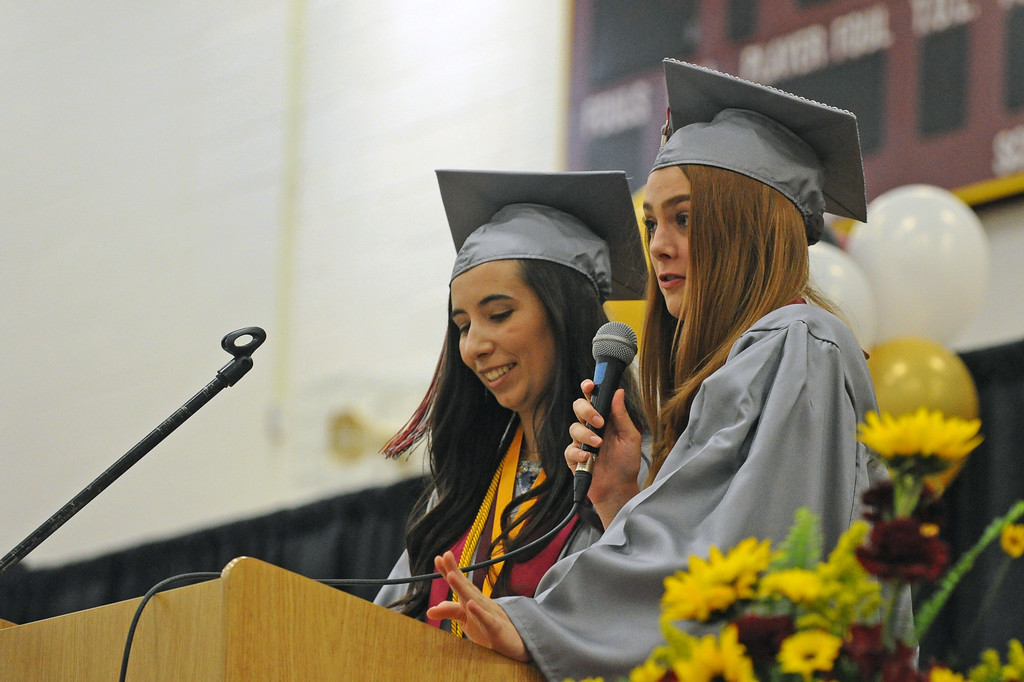 Class of 2017 salutatorians Kiara Paninos, left, and Lydia Mayer deliver their address during the graduation ceremony on Sunday, May 28 at Big Horn High School. Mike Pruden | The Sheridan Press