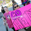 Tomie Haskell, right, holds a sign in support for her friend Heidi Krivinchuk, both are from Broomfield, during Saturday's open casting call for The Biggest Loser 11 at Broomfield's 1st Bank Center.<br /> July 17, 2010<br /> Staff photo/ David R. Jennings