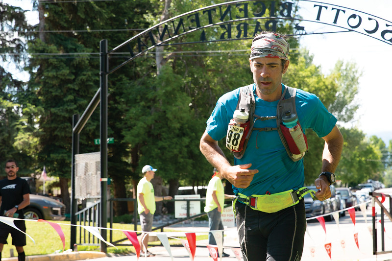 Matthew Gaston | The Sheridan Press<br>Benjamin Lewis just minutes away from crossing the finish line of the Bighorn Trail Run after a grueling 100 mile race Saturday, June15, 2019.