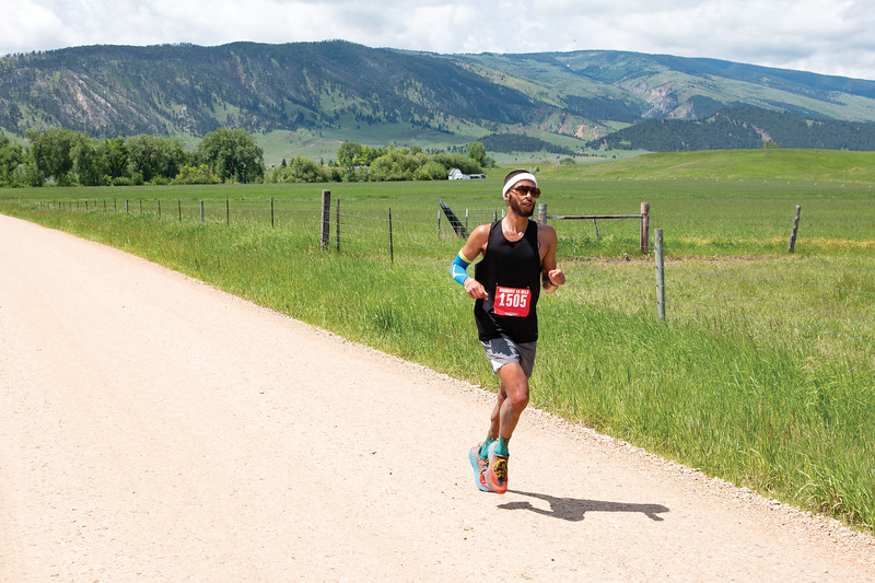 Matthew Gaston | The Sheridan Press<br>Longmont, Colorado's Brandon Johnson maintains a quick pace during the 18 mile Bighorn Trail Run Saturday, June 15, 2019.