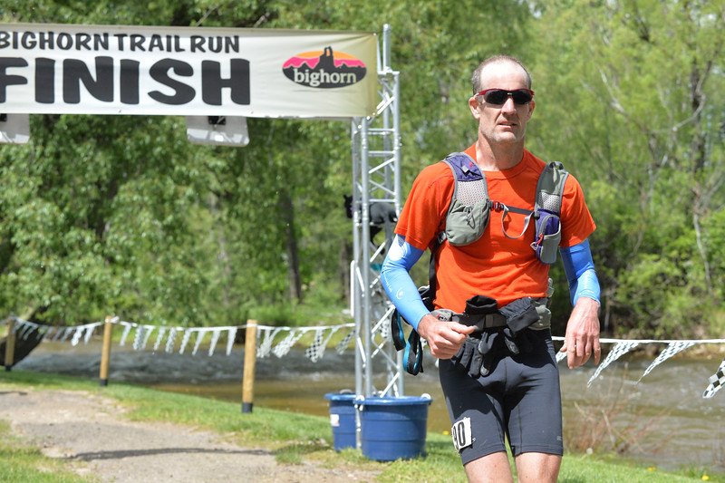 Ryan Patterson | The Sheridan Press<br /> Brian Frankle completes the 100-mile race during the Bighorn Mountain Wild and Scenic Trail Run at Scott Bicentennial Park in Dayton, Saturday, June 15, 2019. Frankle is from Bend, Oregon, and placed 14th overall in the race.
