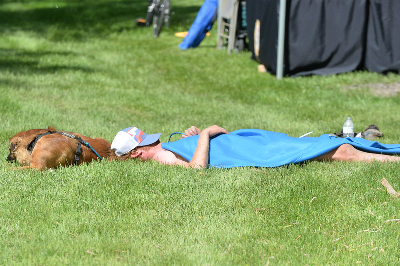 Ryan Patterson | The Sheridan Press<br /> William Mitchell takes a nap after completing the Bighorn Mountain Wild and Scenic Trail Run at Scott Bicentennial Park in Dayton, Saturday, June 15, 2019. Mitchell is from Denton, North Carolina, and placed fifth in the 100-mile race.