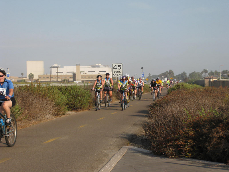 The group on the bayshore bikepath