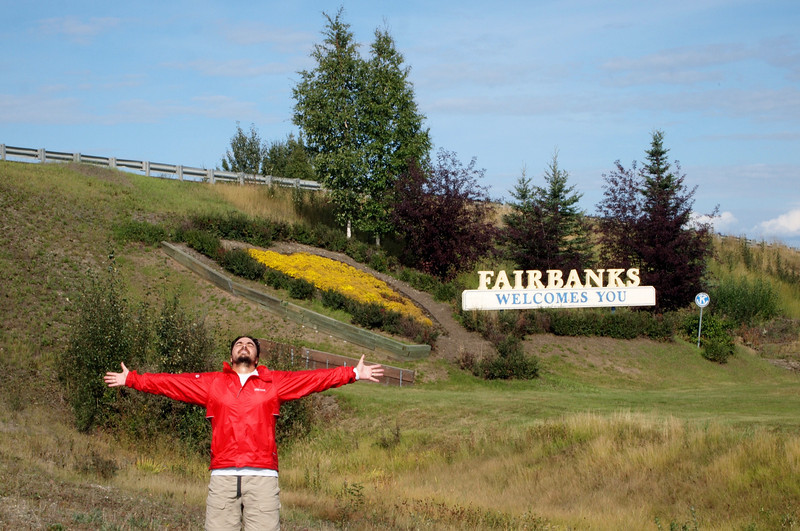 Dave celebrates at the finish line in Fairbanks