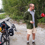 Adam ponders the campstove for the first lunch of the ride