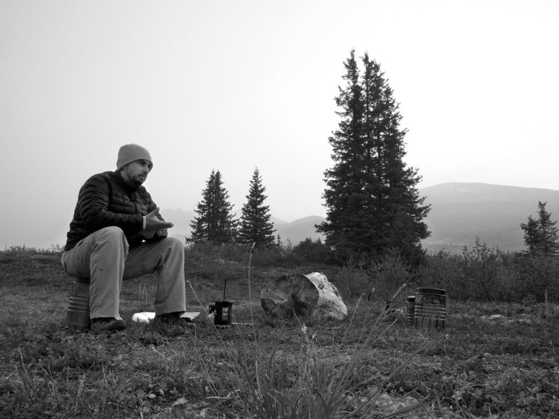 Dave waiting on coffee in Kluane National Park
