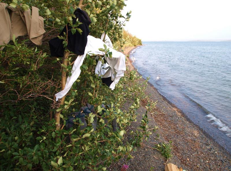 drying laundry at Dezadeash Lake