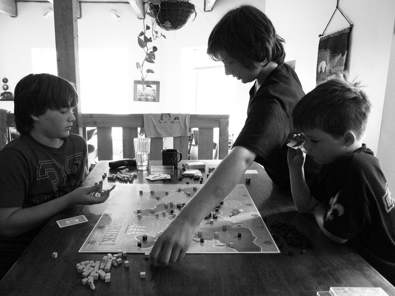 playing Risk with Jake, Pippin, and Ben