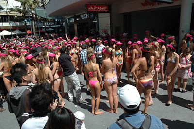 357 participants in Gold coast, Australia are attempting the world record for the greatest number of women involved in a bikini parade