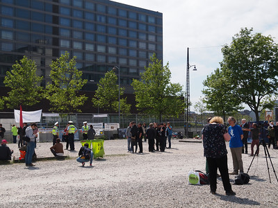 Fenced area for Bilderberg protesters in front of the Marriot Hotel