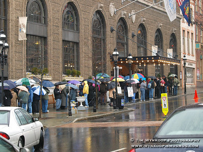 Bethlehem, PA, 03-19-2008: Hundreds of people waited in line and braved the rain on Main Street in Bethlehem today before entering the Hotel Bethlehem attend a campaign speech former President Bill Clinton gave for his wife, Hilliary. (Photo by: Tim Wynkoop)