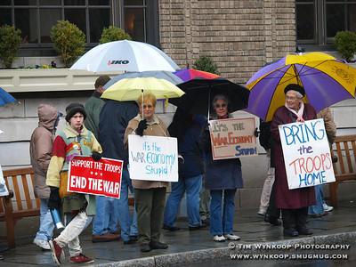 Bethlehem, PA, 03-19-2008: War protesters lined the street in front of the Hotel Bethlehem as they awaited the arrival of former President, Bill Clinton today.  (Photo by: Tim Wynkoop)