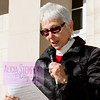 Debbie Finn reads one of the 10 amendments in the Bill of Rights on Sunday at Peace and Justice Plaza in Chapel Hill. The ratification of the document was 222 years ago. The Orange County Peace Coalition organized the commemorative event.