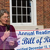 Orange County Commissioner Bernadette Pelissier reads one of the 10 amendments in the Bill of Rights at an even commemorating the ratification of the document 222 years ago. The Orange County Peace Coalition organized the event at Peace and Justice plaza in Chapel Hill.