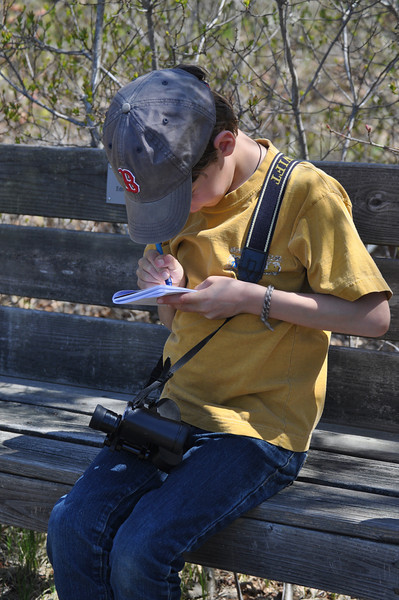 "Even those still earning their birding stripes recognize the value in being ready.....   Binoculars - check Red Sox cap - check Checklist - check  Have a great day - check Raise lots of money for Mass Audubon! - - check, check!  <font size=""2"">Photo by Henrietta Yelle</font>"