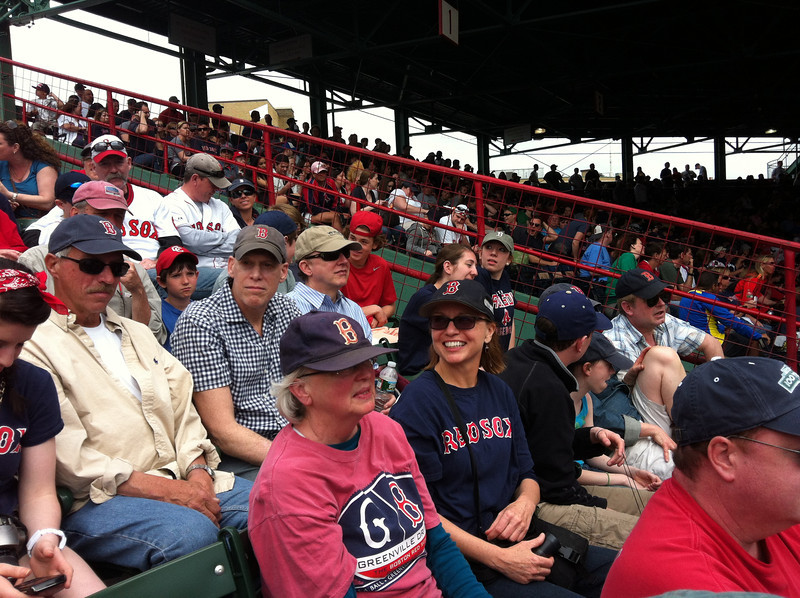 "Bird-a-thon 2012 received great, early publicity when Don Orsillo and Jerry Remy of NESN talked about the event during the April 15 Red Sox game against Tampa Bay! Mass Audubon staffers and their families were at the game in the bleachers.  <font size=""2"">Photo by Joan Walsh</font>"