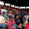 """Bird-a-thon 2012 received great, early publicity when Don Orsillo and Jerry Remy of NESN talked about the event during the April 15 Red Sox game against Tampa Bay! Mass Audubon staffers and their families were at the game in the bleachers.  <font size=""""2"""">Photo by Joan Walsh</font>"""