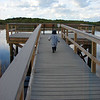 "CJ Hansen, a very young birder for the Broadmoor team and son of staff member Melissa Hansen, heads down the boardwalk at Great Meadows in search of rare species.  <font size=""2"">Photo by Melissa Hansen</font>"
