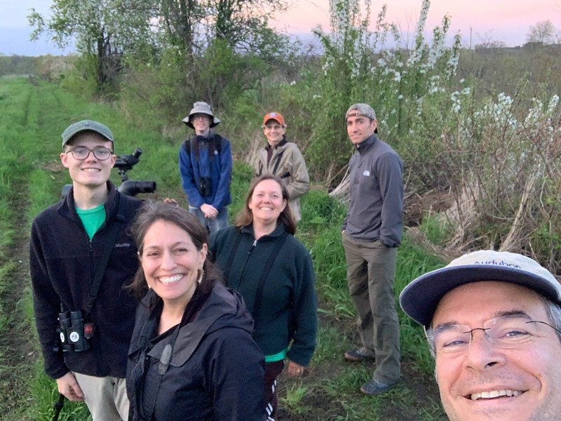 Team Drumlin Farm bird watching at dusk