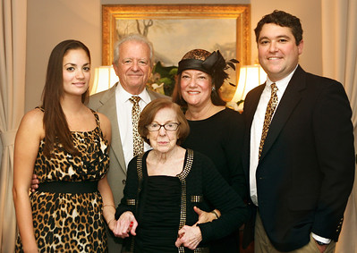 011812 -Athena Scangas, center, poses with her family during a celebration of her 100th birthday. (L to R) Tanya Diamond, Charles Diamond, Athena Scangas, Kathryn Diamond, and Charles Diamond.  The party was held at the La Coquille Club in Manalapan.  photo by Tim Stepien