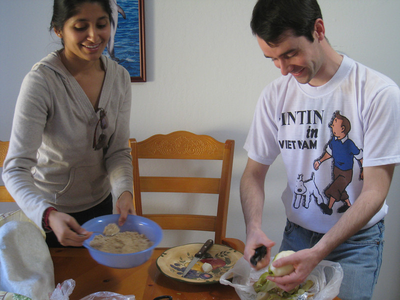 Shubha helping Francois with the pear almond tart.