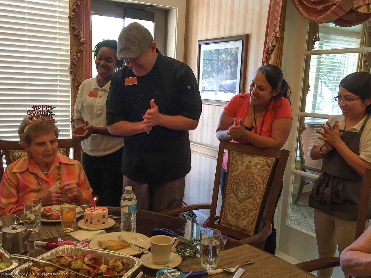 Joan Honey Phillips' 88th Birthday with Sunrise staff and Birthday Cake