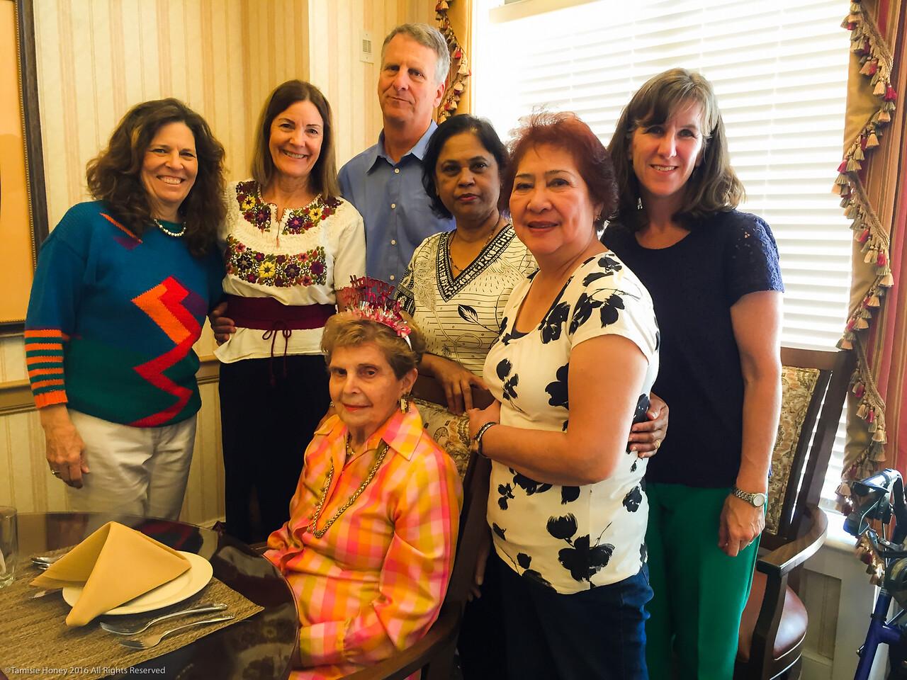 Joan Honey Phillips' 88th Birthday - with Tami, Sally, Stan, Sarla, Alice, Mary