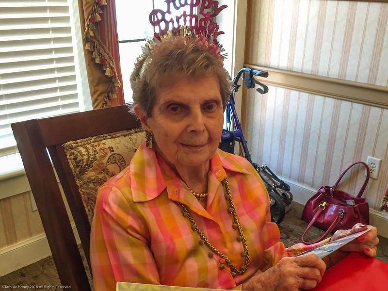 Joan Honey Phillips' 88th birthday  gifts - flowers, colorful shawl, perfume, soft pretty socks, soft jammies