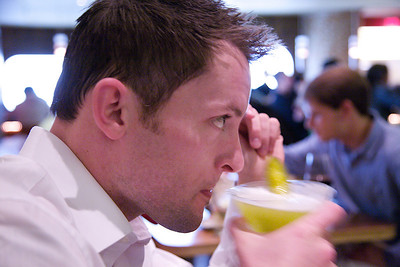 Chris enjoying his Pickle Martini.