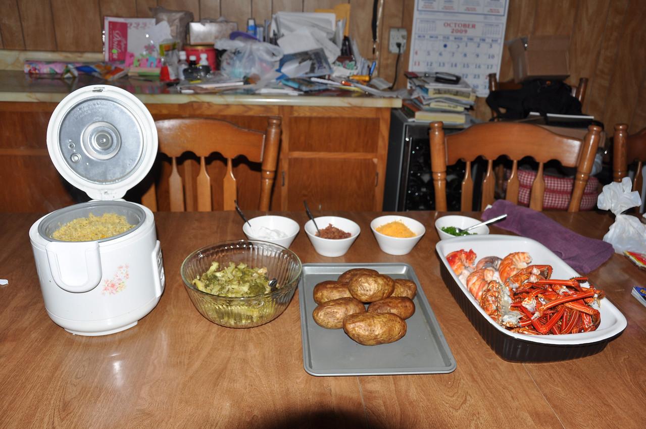 After. Saffron Basmati Rice, Steamed Broccoli, Baked Potatoes, Boiled Spiny Lobster.