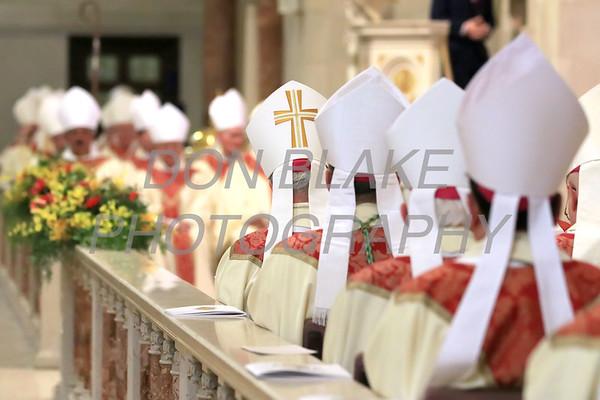 Bishops sit on the altar duirng Bishop William Koenig Ordination Mass at St. Elizabeth Church, Tuesday, July 13, 2021. Photo/Don Blake