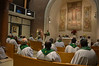 The bishops listen to Monday's homily