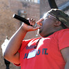 Don Knight   The Herald Bulletin<br /> Damon Golden performs during the Black Expo Talent Show on the stage at Town Center Park on Friday.