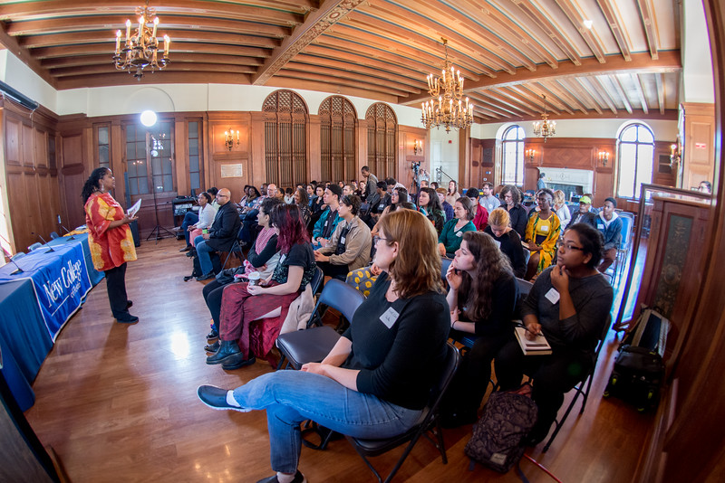 People pack the College Hall Music Room during at symposium event during Black History Month in 2016.