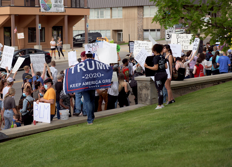 Allayana Darrow | The Sheridan Press<br /> Protesters displayed a wide variety of perspectives on Black Lives Matter as they gathered in front of the Sheridan County Courthouse Friday, June 5, 2020.