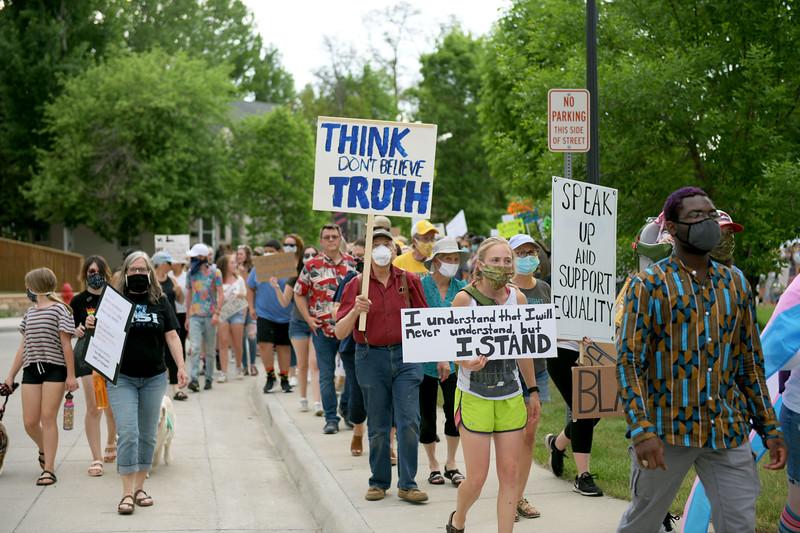 Allayana Darrow | The Sheridan Press<br /> Protesters depart the Sheridan Fulmer Public Library Friday, June 5, 2020.