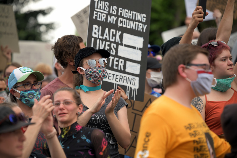 Matthew Gaston | The Sheridan Press<br>Protesters applaud the speakers who were brave enough to share their experiences during the Black Lives Matter Solidarity Protest Friday, June 5, 2020.