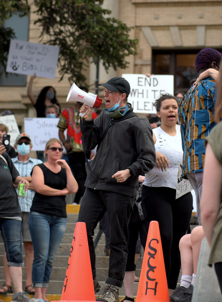 Allayana Darrow | The Sheridan Press<br /> Jess Harrelson amps up the crowd during the Black Lives Matter Solidarity Peaceful Protest Friday, June 5, 2020.