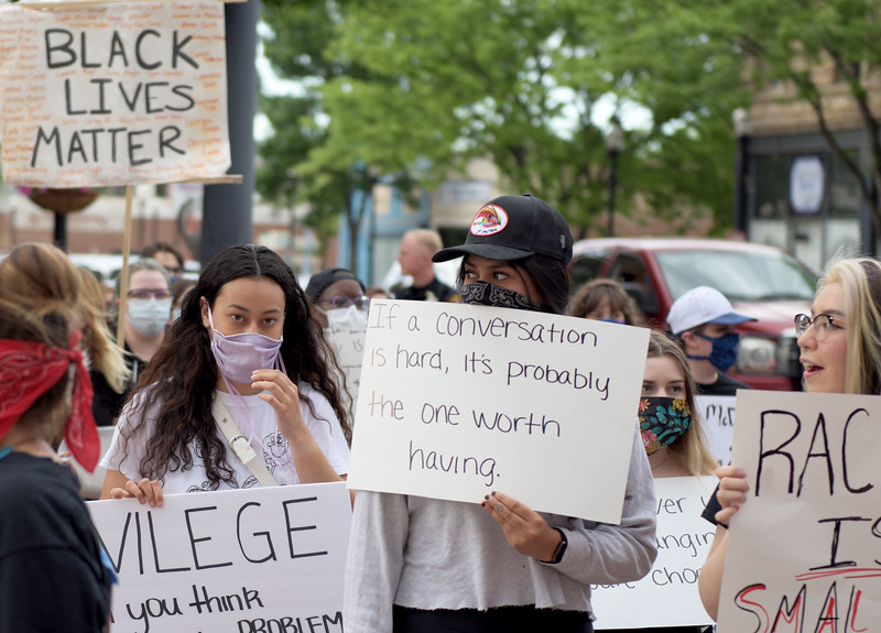 Allayana Darrow | The Sheridan Press<br /> One protester displays a sign encouraging productive conversation during the Black Lives Matter Solidarity Peaceful Protest Friday, June 5, 2020.