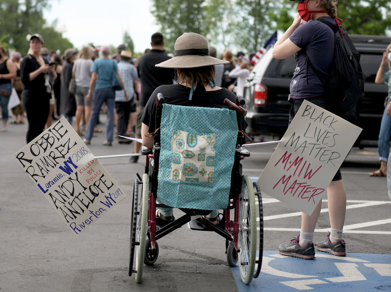 Allayana Darrow | The Sheridan Press<br /> On Friday, June 5, 2020, some protesters brought signs to remind the public of issues that continue to plague the Mountain West, like unsolved cases of missing and murdered indigenous people.