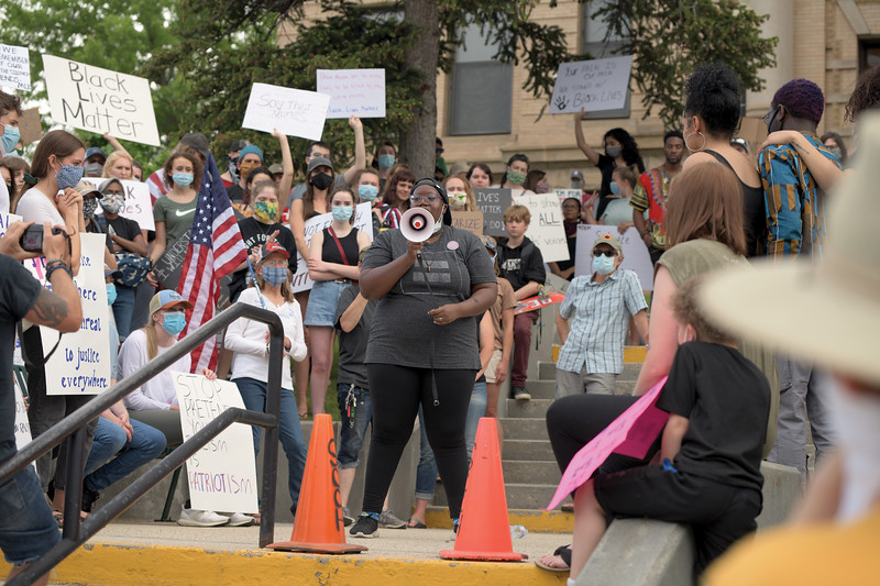 Matthew Gaston | The Sheridan Press<br>Tehn Ehsahni Suah addressed the crowd gathered on the courthouse lawn during the Black Lives Matter Solidarity Protest Friday, June 5, 2020.